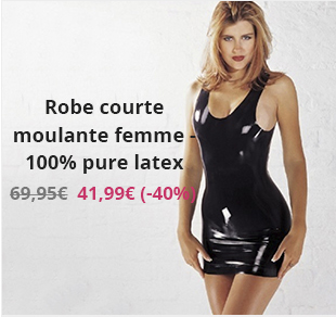 Robe courte moulante femme - 100% pure latex